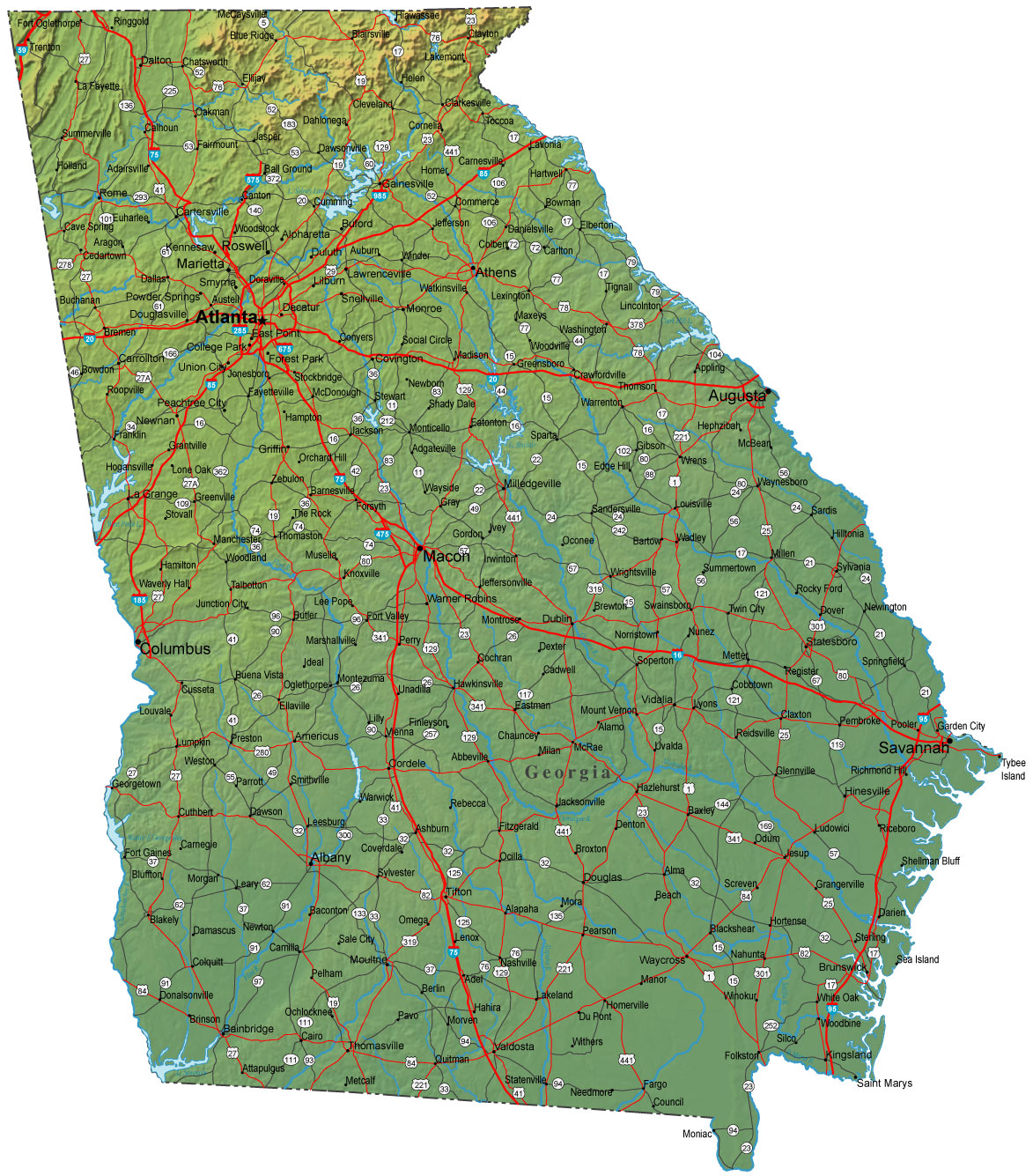 Detailed Georgia Map  GA Terrain Map